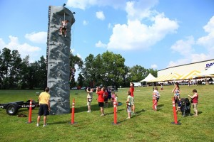 rock wall at an event
