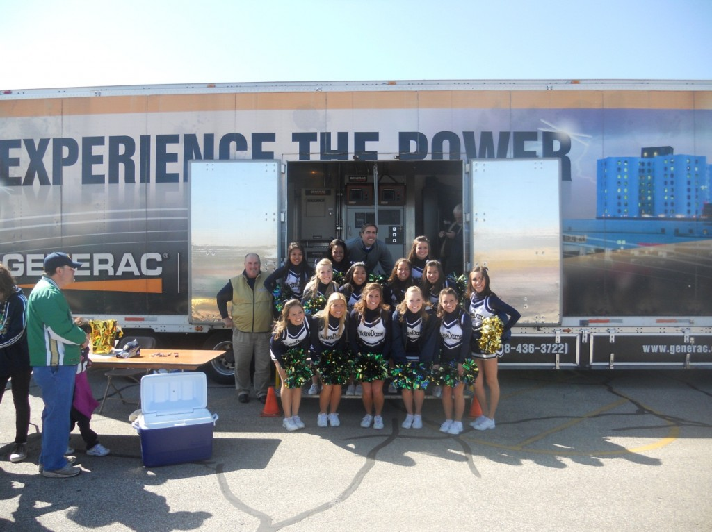 Generac Power Systems Truck and Notre Dame Cheerleaders