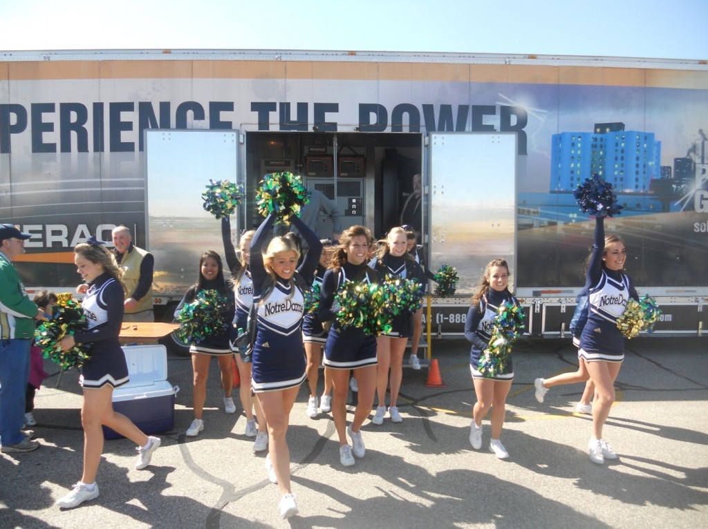Generac Power Demo Truck and Notre Dame Cheerleaders